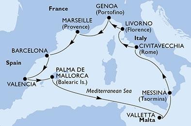 Κρουαζιέρες στη Δυτική Μεσόγειο (18MSC75)