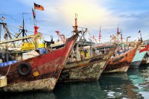 Κότα Κιναμπάλου: Αλιευτικά σκάφη στην Κότα Κινάμπαλου. Μαλαισία.