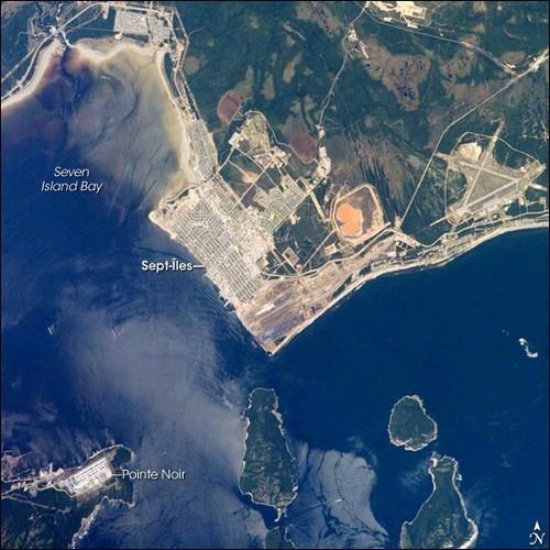 Σετ Ιλ (Καναδάς): Αεροφωτογραφία της περιοχής Σετ Ιλ. Κεμπέκ. Καναδάς. ΗΠΑ.