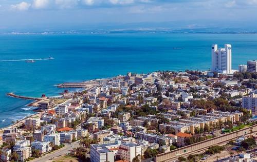 Χάϊφα (Άγιοι Τόποι): Πανοραμική αεροπορική λήψη της Χάϊφα. Ισραήλ.